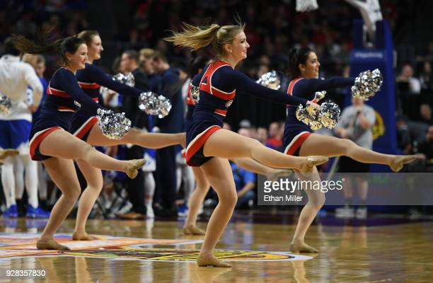Gonzaga Bulldogs cheerleaders perform during the championship game of the West Coast Conference basketball tournament between the Bulldogs and the...