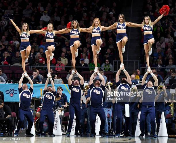 Gonzaga Bulldogs cheerleaders perform during the team's game against the Saint Mary's Gaels in the championship game of the West Coast Conference...
