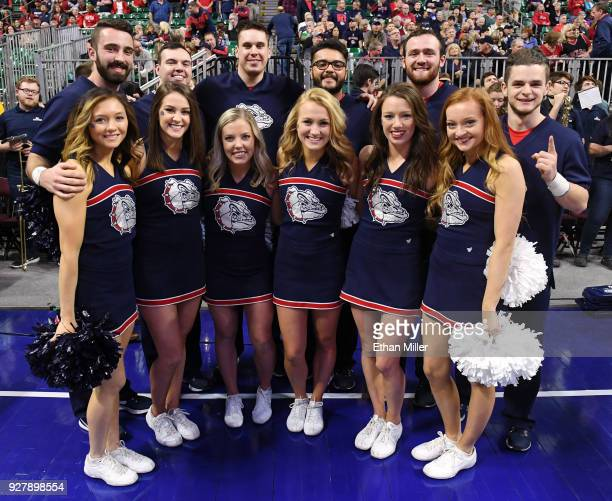 Gonzaga Bulldogs cheerleaders pose before the team's semifinal game of the West Coast Conference basketball tournament against the San Francisco Dons...