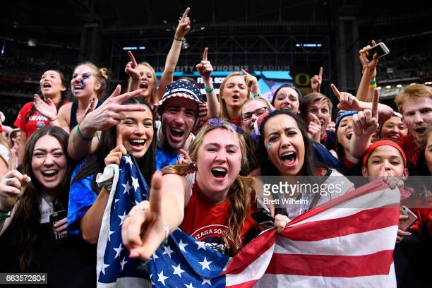 Gonzaga Bulldogs fans cheer on their team against the South Carolina Gamecocks during the 2017 NCAA Photos via Getty Images Men's Final Four...