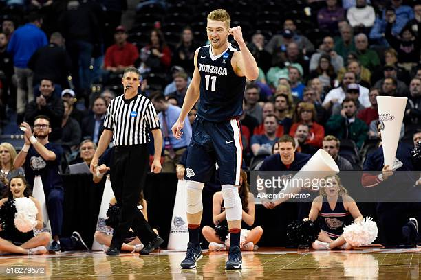 Gonzaga Bulldogs forward Domantas Sabonis celebrates in the waning minutes against the Seton Hall Pirates during the second half of Gonzaga's 6852...