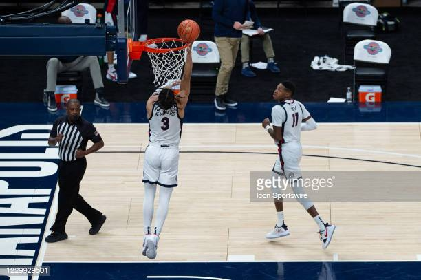 Gonzaga Bulldogs guard Andrew Nembhard scores in the lane during the men's Jimmy V Classic college basketball game between the Gonzaga Bulldogs and...