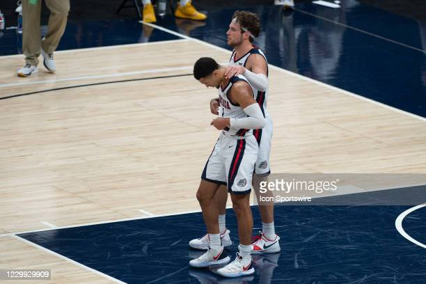 Gonzaga Bulldogs guard Jalen Suggs and Gonzaga Bulldogs forward Corey Kispert celebrate during the men's Jimmy V Classic college basketball game...
