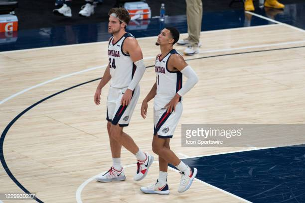 Gonzaga Bulldogs guard Jalen Suggs and Gonzaga Bulldogs forward Corey Kispert stand on the court during a free throw attempt during the men's Jimmy V...