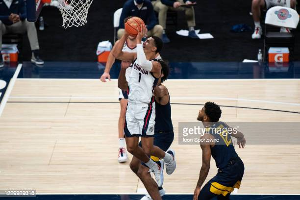 Gonzaga Bulldogs guard Jalen Suggs drives to the basket during the men's Jimmy V Classic college basketball game between the Gonzaga Bulldogs and...