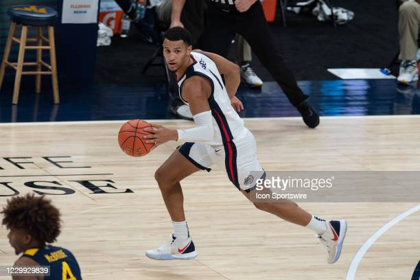 Gonzaga Bulldogs guard Jalen Suggs starts a fast break during the men's Jimmy V Classic college basketball game between the Gonzaga Bulldogs and West...