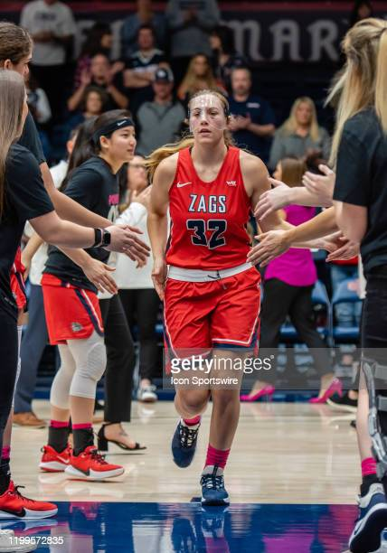 Gonzaga Bulldogs guard Jill Townsend gets introduced before the game between the St Mary Gaels and the Gonzaga Bulldogs on Saturday February 08 2020...