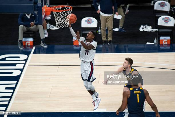 Gonzaga Bulldogs guard Joel Ayayi scores in the lane during the men's Jimmy V Classic college basketball game between the Gonzaga Bulldogs and West...