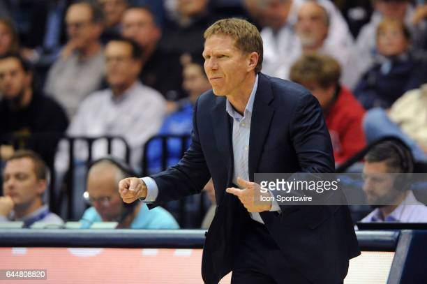 Gonzaga Bulldogs head coach Mark Few reacts from the bench during the second half against the San Diego Toreros on February 23 at Jenny Craig...