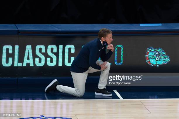 Gonzaga Bulldogs head coach Mark Few watches from the sidelines during the men's Jimmy V Classic college basketball game between the Gonzaga Bulldogs...