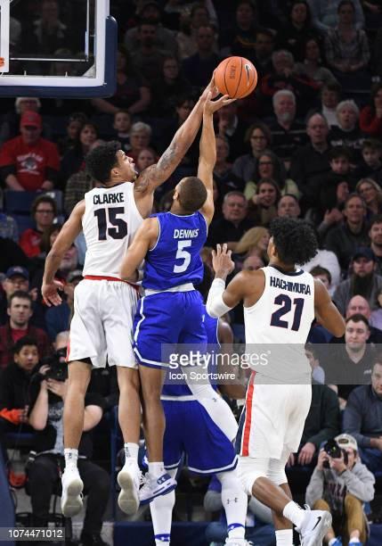 Gonzaga forward Brandon Clarke blocks the shot of TexasArlington guard Edric Dennis during the game between the Texas Arlington Mavericks and the...
