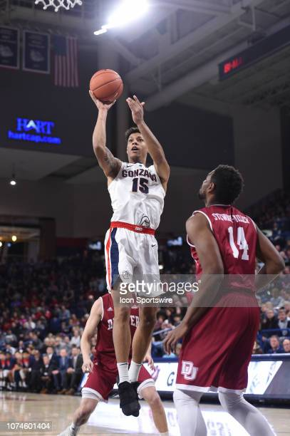 Gonzaga forward Brandon Clarke hits this jumper during the game between the Denver Pioneers and the Gonzaga Bulldogs played on December 21, 2018 in...