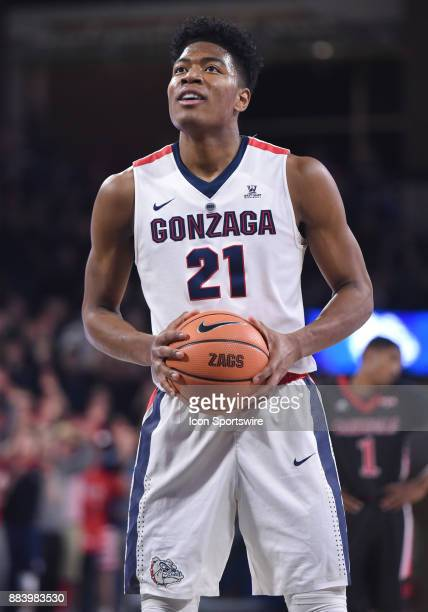 Gonzaga forward Rui Hachimura at the free throw line during the game between the Incarnate Word Cardinals and the Gonzaga Bulldogs on November 29 at...