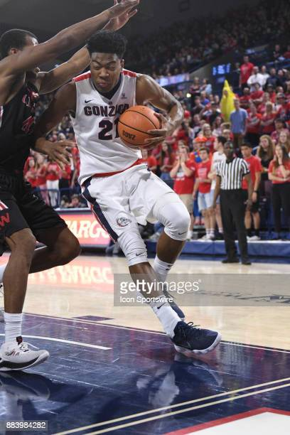 Gonzaga forward Rui Hachimura protects the ball as he drives during the game between the Incarnate Word Cardinals and the Gonzaga Bulldogs on...