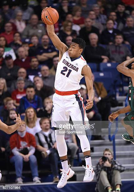 Gonzaga freshman forward Rui Hachimura pulls down a rebound during the game between the Mississippi Valley State Delta Devils and the Gonzaga...
