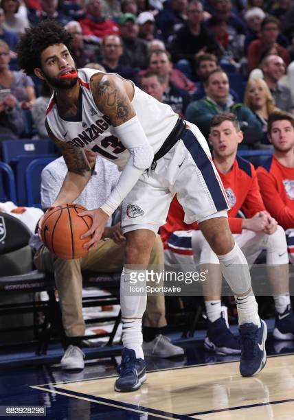 Gonzaga guard Josh Perkins keeps his balance to stay inbounds before calling timeout during the game between the Incarnate Word Cardinals and the...