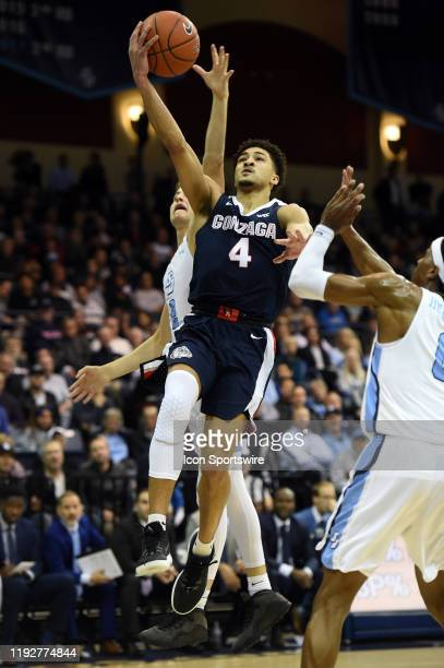 Gonzaga Ryan Woolridge goes up for a shot during a college basketball game between the Gonzaga Bulldogs and the San Diego Toreros on January 09 at...
