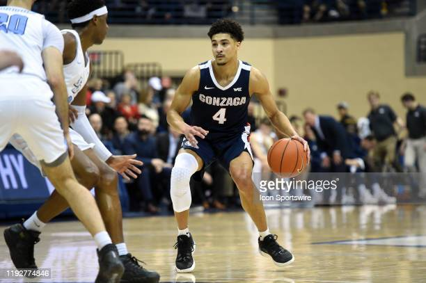 Gonzaga Ryan Woolridge looks for an open lane during a college basketball game between the Gonzaga Bulldogs and the San Diego Toreros on January 09...