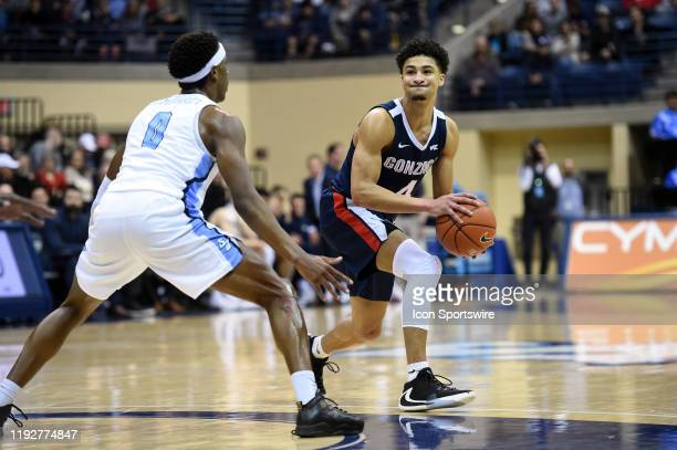 Gonzaga Ryan Woolridge looks for an open pass during a college basketball game between the Gonzaga Bulldogs and the San Diego Toreros on January 09...