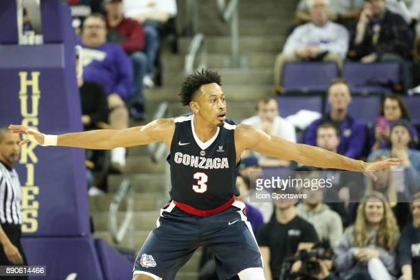 Gonzaga's Johnathan Williams sets up on defense under the basket against Washington Gonzaga won 9770 over Washington on December 10 2017 at Alaska...