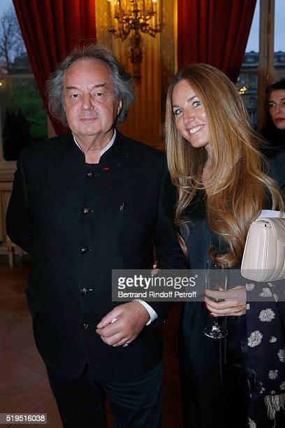 Gonzague Saint Bris and Delphine Marang Alexandre attend writer Marc Lambron receives L'Epee d'Academicien of Academie Francaise on April 6 2016 in...
