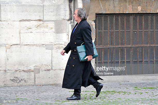 Gonzague Saint Bris arrives at the SaintSulpice church for the funeral of French theatre opera and cinema director Patrice Chereau on October 16 2013...