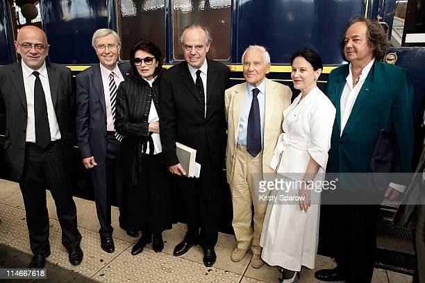 Gonzague Saint Bris Irene Frain Jean d'Ormesson Frederic Mitterrand Anouk Aimee M Fremder and guest attend the 'A Vous de Lire' Litteratour Train...