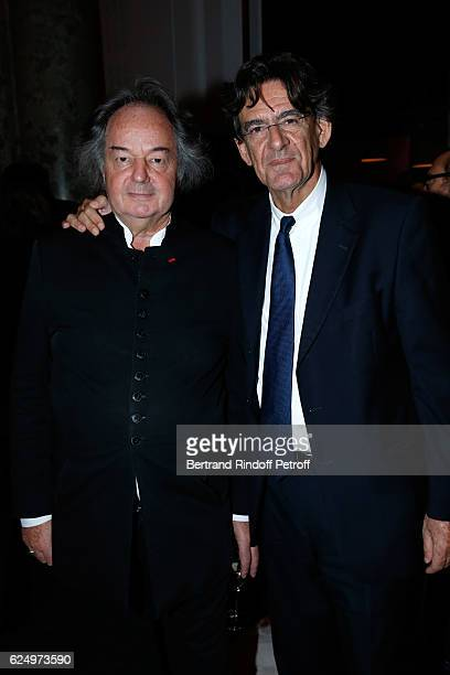 Gonzague SaintBris and Luc Ferry attend the Diner des amis de Care for the 70th anniversary of the Association Held at Espace Cambon on November 21...