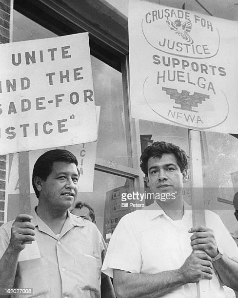JUN 15 1966 JUN 16 1966 Gonzales Rudolph Groups L Cesar Chavez R Corky Gonzales Pickets March at the Rocky Mountain News Cesar Chavez left president...