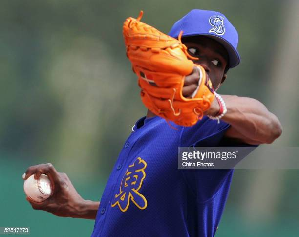 Gonzalez of the Guangdong Leopards pitches during the opening game of the China Baseball League against the Sichuan Dragons on April 1 2005 in...