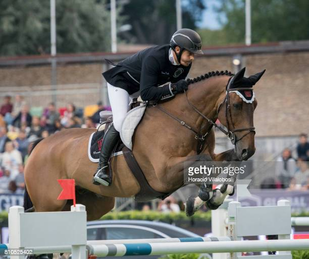 Gonzalo Anon Moya of Spain and horse Qlamp d'Ivraie during CSI5 Global Champions League of Cascais Round 1 jumping competition at the first day of...