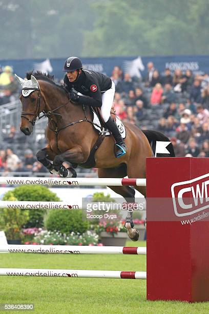 Gonzalo Anon Suarez of Spain ride Qlamp d'Ivraie during the Global Champions League at Hippodrome de Chantilly on May 29 2016 in Chantilly France