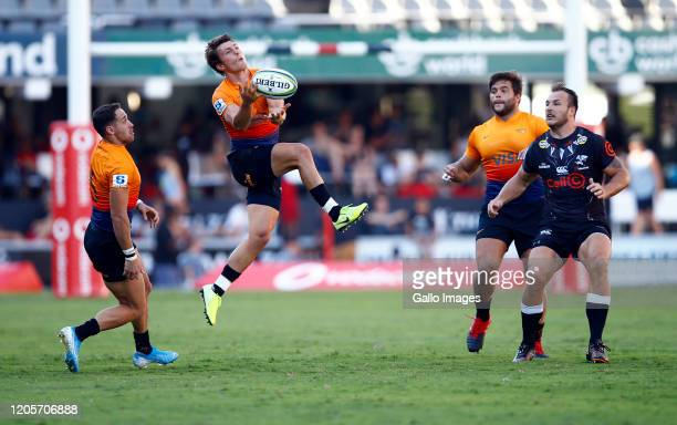 Gonzalo Bertranou of the Jaguares jumps to catch the ball during the Super Rugby match between Cell C Sharks and Jaguares at Jonsson Kings Park...