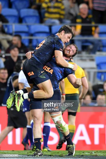 Gonzalo Bertranou of the Pumas celebrates his side's win during The Rugby Championship match between the Australian Wallabies and Argentina Pumas at...