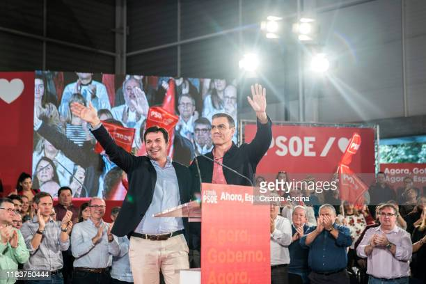 Gonzalo Caballero and Pedro Sanchez PerezCastejon attends a Spanish Socialist Workers' Party meeting on October 27 2019 in A Coruna Spain