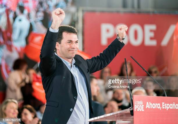 Gonzalo Caballerothe general secretary of PSOE in Galicia attends a Spanish Socialist Workers' Party meeting on October 27 2019 in A Coruna Spain