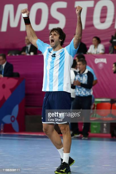 Gonzalo Carou of Argentina reacts in Men`s Handball Gold Medal Match between Argentina and Chile on Day 10 of Lima 2019 Pan American Games at Sports...