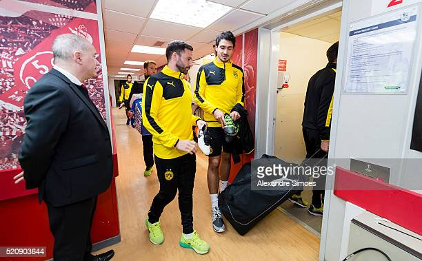 Gonzalo Castro and Mats Hummels of Borussia Dortmund during a training session prior to the Europa League match between Liverpool FC and Borussia...