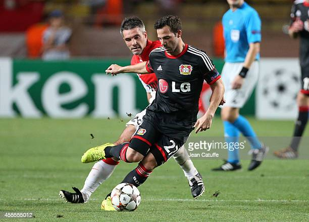 Gonzalo Castro of Bayer Leverkusen and Jeremy Toulalan of Monaco in action during the UEFA Champions League Group C match between AS Monaco FC and...