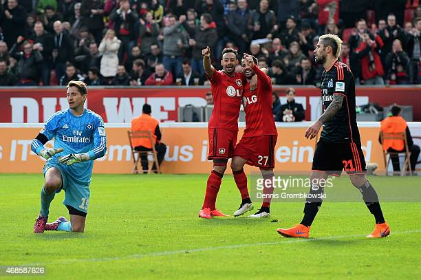 Gonzalo Castro of Bayer Leverkusen celebrates as he scores the fourth goal during the Bundesliga match between Bayer 04 Leverkusen and Hamburger SV...
