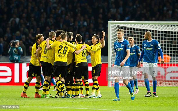 Gonzalo Castro of Borussia Dortmund celebrates after scoring the opening goal together with his team mates during the DFB Cup Semi Final match...