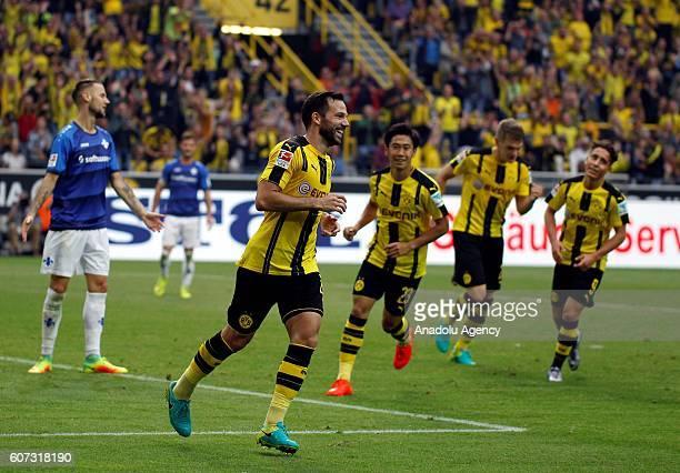 Gonzalo Castro of Borussia Dortmund celebrates scoring a goal during Bundesliga soccer match between Borussia Dortmund and SV Darmstadt 98 at the...