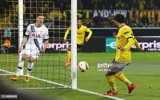 Gonzalo Castro of Borussia Dortmund hits the post with a shot during the UEFA Europa League Round of 16 first leg match between Borussia Dortmund and...