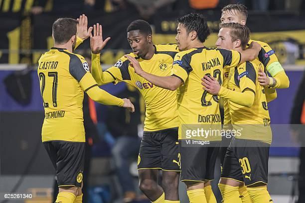 Gonzalo Castro of Borussia Dortmund Ousmane Dembele of Borussia Dortmund Shinji Kagawa of Borussia Dortmund Felix Passlack of Borussia Dortmund Marco...