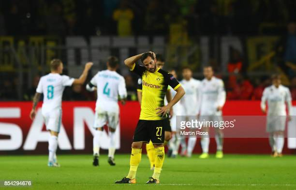Gonzalo Castro of Borussia Dortmund reacts to Real Madrid scoring there third goal during the UEFA Champions League group H match between Borussia...