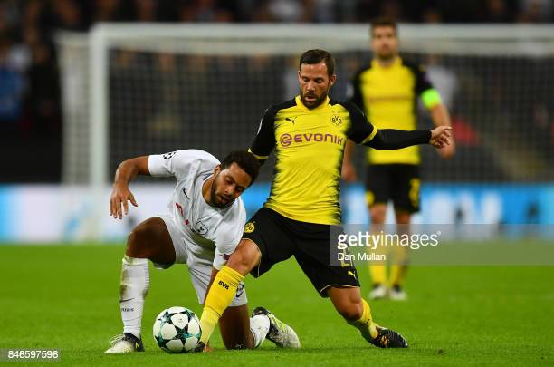 Gonzalo Castro of Borussia Dortmund tackles Mousa Dembele of Tottenham Hotspur during the UEFA Champions League group H match between Tottenham...