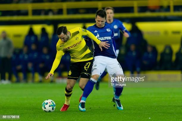 Gonzalo Castro of Dortmund and Yevhen Konoplyanka of Schalke battle for the ball during the Bundesliga match between Borussia Dortmund and FC Schalke...