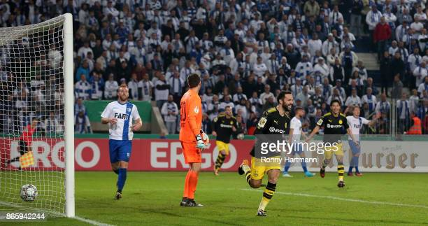 Gonzalo Castro of Dortmund celebrates after scoring his team's opening goal during the DFB Cup match between 1 FC Magdeburg and Borussia Dortmund at...