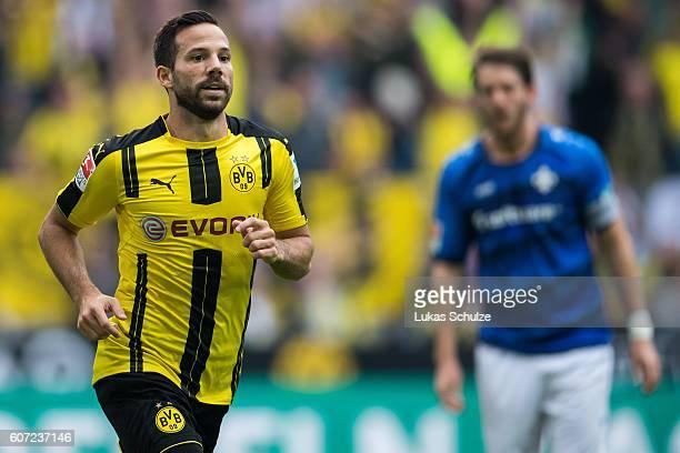 Gonzalo Castro of Dortmund celebrates his 10 goal during the Bundesliga match between Borussia Dortmund and SV Darmstadt 98 at Signal Iduna Park on...