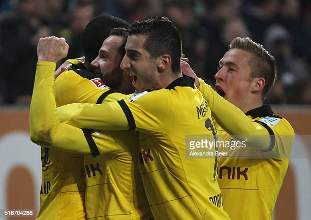 Gonzalo Castro of Dortmund celebrates his first goal together with teammates Ramos Vasquez Henrikh Mkhitaryan and Felix Passlack during the...